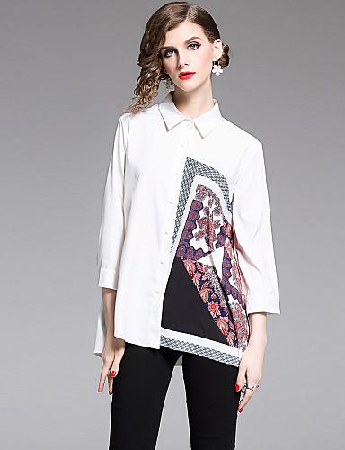 billige Dametopper-Skjortekrage / Choker Skjorte Dame - Grafisk, Trykt mønster Elegant Hvit