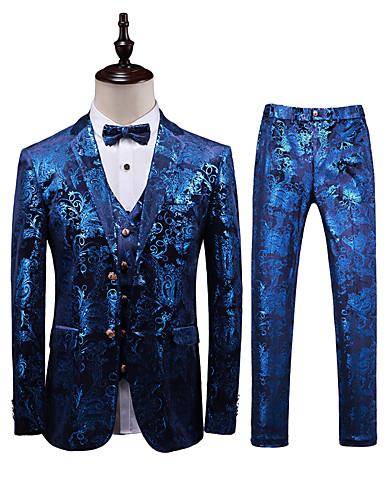 Blå Mønstret Standard Polyester Dress - Med hakk Enkelt Brystet To-knapp / drakter