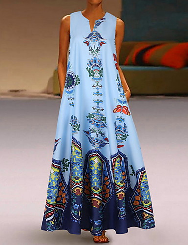 voordelige Maxi-jurken-Dames A-lijn Jurk - Geometrisch V-hals Maxi