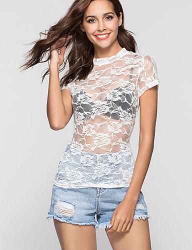 billige Dametopper-T-skjorte Dame - Blomstret Gatemote / Elegant Hvit / Silke