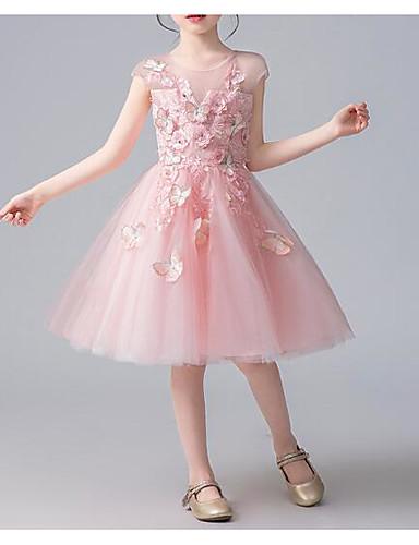 Prinsesse Knelang Blomsterpikekjole - Bomull / Tyll Kortermet Besmykket med Sommerfugl Design / Kronblader / Appliqué