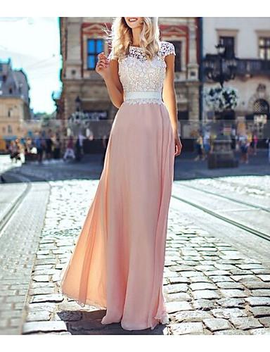 levne Maxi šaty-Dámské Cikánský Šifón Šaty - Barevné bloky, Krajka Volná záda Maxi Dusty Rose