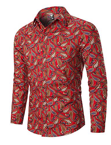 voordelige Herenoverhemden-Heren Standaard Print EU / VS maat - Overhemd Grafisch Zwart / Lange mouw