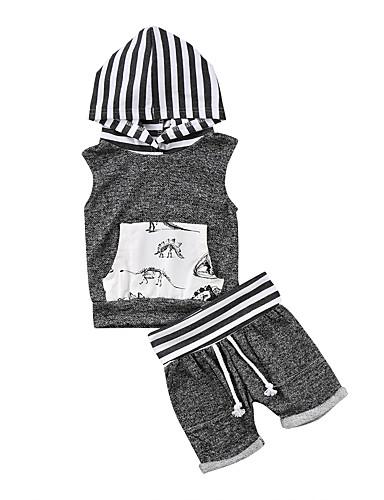 Μωρό Αγορίστικα Ενεργό / Βασικό Στάμπα Αμάνικο Κοντό Σετ Ρούχων Γκρίζο