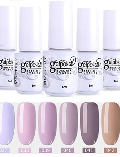 6 τεμάχια χρώματος 37-42 xyp ενυδατική UV / led gel νυχιών στιλβωμένο στερεό χρώμα νυχιών σύνολα