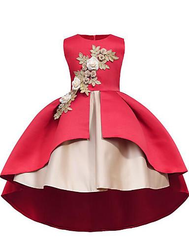 Βραδινή τουαλέτα Μακρύ / Ασύμμετρο Φόρεμα για Κοριτσάκι Λουλουδιών - Βαμβάκι Αμάνικο Με Κόσμημα με Διακοσμητικά Επιράμματα