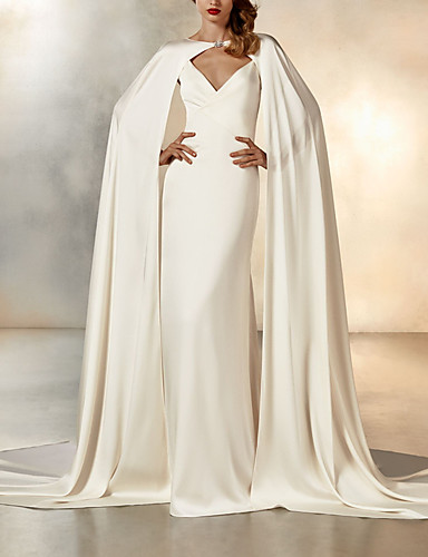 cheap Wedding Dresses-Mermaid / Trumpet Wedding Dresses V Neck Sweep / Brush Train Chiffon Spaghetti Strap Simple Sexy Backless Elegant Cape with 2020 / Yes