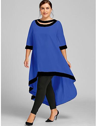 levne Maxi šaty-Dámské Větší velikosti Pouzdro Šaty - Jednobarevné Maxi