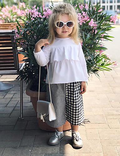 Baby Jente Aktiv / Grunnleggende Rutet Trykt mønster Langermet Normal Tøysett Hvit