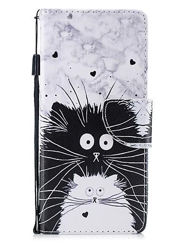 Capinha Para Samsung Galaxy Note 9 / Note 8 Carteira / Porta-Cartão / Antichoque Capa Proteção Completa Gato PU Leather