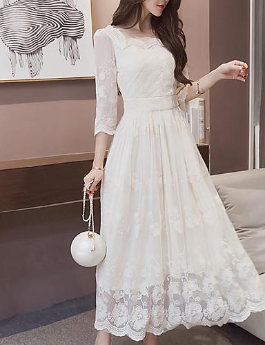 levne Maxi šaty-Dámské Volné Šaty - Jednobarevné Maxi Bílá