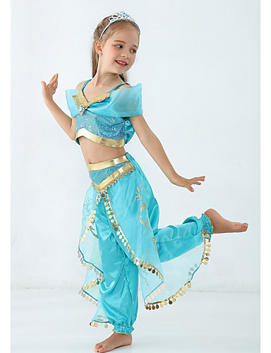 cheap Cosplay & Costumes-Princess Jasmine Costume Girls' Fairytale Theme Performance Cosplay Costumes Theme Party Sequins Polyester / Top / Pants