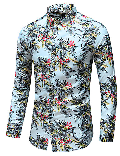 preiswerte Hemden-Herrn Blumen - Geschäftlich / Elegant Hemd Druck Tropisches Blatt Weiß