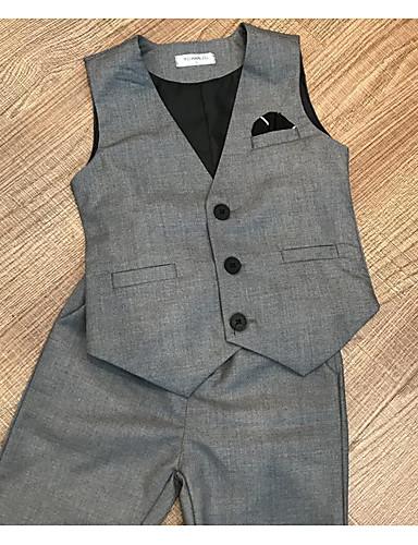 Γκρίζο Βαμβάκι Κοστούμι για Αγοράκι με Βέρες - 2pcs Περιλαμβάνει Γιλέκο / Κοντά Παντελονάκια