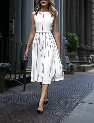 cheap Top Sellers-Women's Elegant A Line Dress - Striped White M L XL XXL