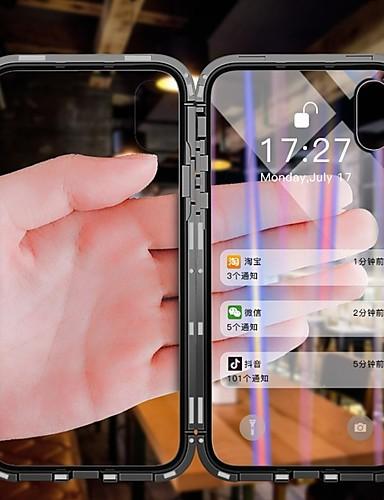 Etui Til Apple iPhone X / iPhone 8 Plus / iPhone 8 Støvtett / Flipp / Gjennomsiktig Heldekkende etui Gjennomsiktig Hard Herdet glass / Metall / Aluminium