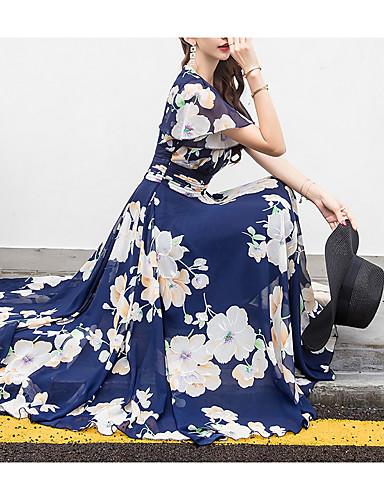 voordelige Maxi-jurken-Dames Grote maten Feestdagen Strand Chiffon Wijd uitlopend Jurk - Bloemen, Print V-hals Midi