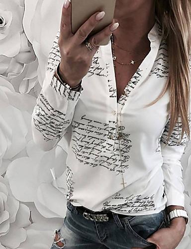 billige Skjorter til damer-Bomull Løstsittende V-hals Skjorte Dame - Bokstaver Hvit