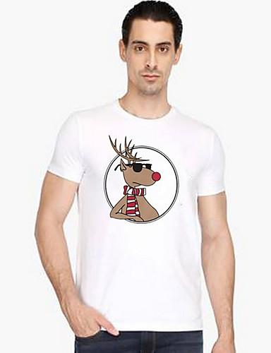 Rund hals T-skjorte Herre - Dyr Hvit / Kortermet