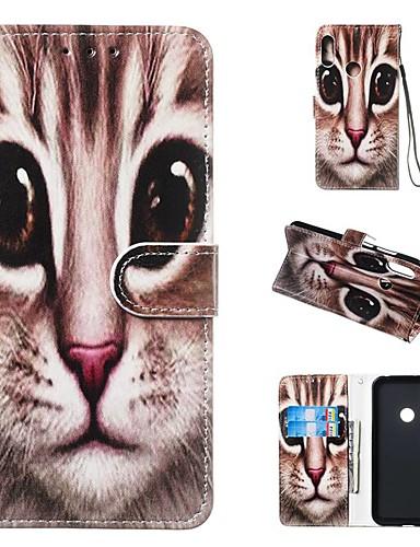Etui Til Huawei Ære 10 Lite / Huawei Mate 20 lite / Huawei Mate 20 pro Lommebok / Kortholder / med stativ Heldekkende etui Katt Hard PU Leather