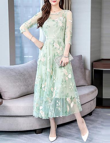 voordelige Maxi-jurken-Dames Elegant A-lijn Jurk - Bloemen, Kant Cut Out Patchwork Maxi
