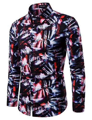 Homens Camisa Social Rock / Moda de Rua Estampado, Tie Dye Preto e Vermelho Vermelho