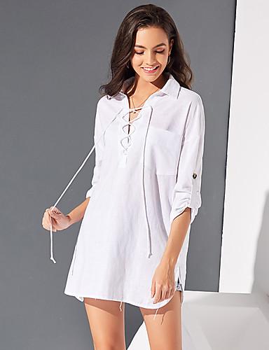 billige Dametopper-Bomull Løstsittende Skjortekrage Skjorte Dame - Ensfarget, Blondér Forretning Hvit