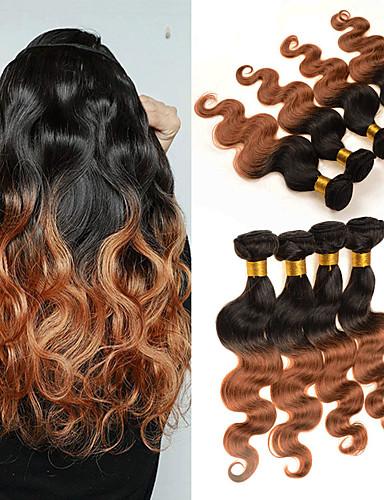 povoljno Ekstenzije-4 paketića Brazilska kosa Tijelo Wave Virgin kosa Ljudska kosa Ljudske kose plete 8-30 inch Ombre Isprepliće ljudske kose Odor Free Party proširenje Proširenja ljudske kose / 10A