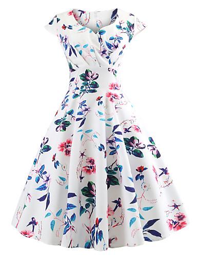 Γυναικεία Βίντατζ Κομψό στυλ street Σιφόν Φόρεμα - Φλοράλ, Στάμπα Μίντι