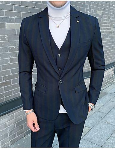 Burgunder / Blå / Grå Stripet Standard Polyester Dress - Med hakk Enkelt Brystet Enn-knapp / drakter