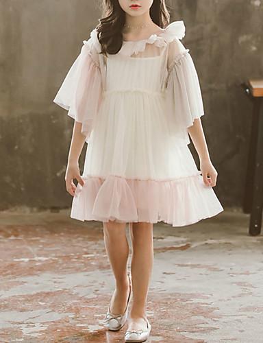 Παιδιά Νήπιο Κοριτσίστικα Γλυκός χαριτωμένο στυλ Άσπρο Συνδυασμός Χρωμάτων Δαντέλα Πολυεπίπεδο Πλισέ Κοντομάνικο Ως το Γόνατο Φόρεμα Ανθισμένο Ροζ / Βαμβάκι / Δίχτυ