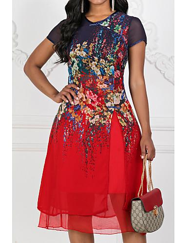 preiswerte Versandkostenfrei-Damen Übergrössen Ausgehen Chiffon Kleid - Mehrlagig Druck, Blumen Midi Knielang