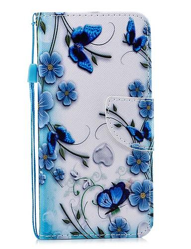 Capinha Para Xiaomi Xiaomi Redmi Note 5 Pro / Xiaomi Redmi Note 5 / Xiaomi Redmi Note 4X Carteira / Porta-Cartão / Antichoque Capa Proteção Completa Borboleta PU Leather