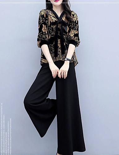 billige Todelt dress til damer-Dame Grunnleggende Sett Bukse Blomstret