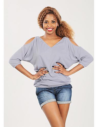 billige Dametopper-Løstsittende T-skjorte Dame - Ensfarget Grunnleggende Svart
