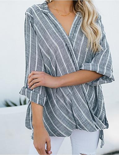 billige Dametopper-Løstsittende V-hals Store størrelser Skjorte Dame - Stripet, Kryss Bohem / overdrevet Svart