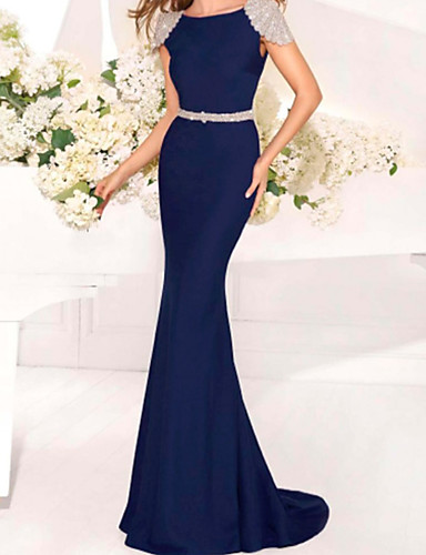 cheap Special Occasion Dresses-Mermaid / Trumpet Open Back Formal Evening Dress Jewel Neck Short Sleeve Sweep / Brush Train Charmeuse with Crystals Beading 2020