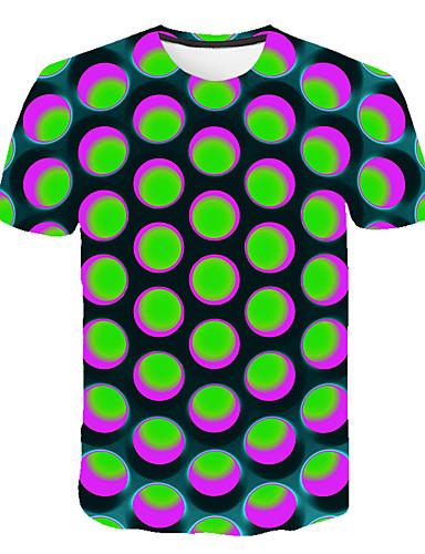 Ανδρικά Μέγεθος EU / US T-shirt Κλαμπ Κομψό στυλ street / Εξωγκωμένος Συνδυασμός Χρωμάτων / 3D / Γραφική Στρογγυλή Λαιμόκοψη Στάμπα Βυσσινί / Κοντομάνικο