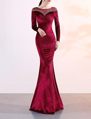 זול שמלות לאירועים מיוחדים-בתולת ים \ חצוצרה אלגנטי ויוקרתי סקסי ערב רישמי שמלה עם תכשיטים שרוול ארוך שובל סוויפ \ בראש קטיפה עם פרטים מקריסטל 2020