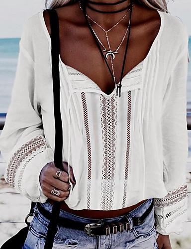 billige Skjorter til damer-V-hals Skjorte Dame - Ensfarget Grunnleggende Hvit