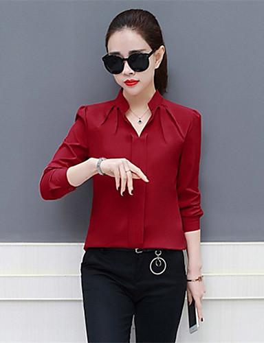 billige Dametopper-V-hals Bluse Dame - Ensfarget Rød