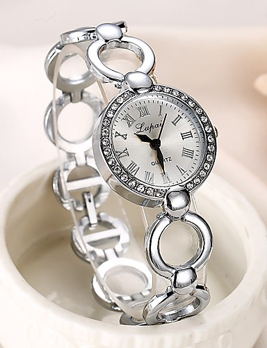 Mulheres Bracele Relógio Zircônia Cubica Casual Elegante Prata Lega Chinês Quartzo Prata Relógio Casual imitação de diamante 1 Pça. Analógico Um ano Ciclo de Vida da Bateria
