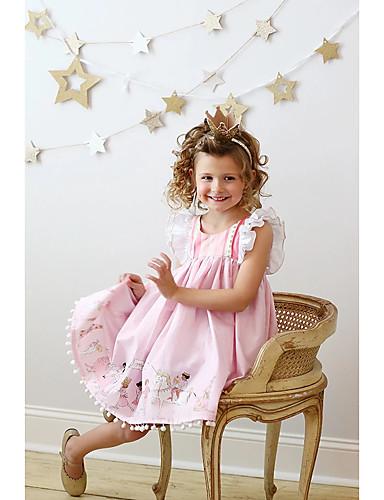 preiswerte Baby & Kinder-Kinder Mädchen Aktiv Geometrisch Druck Ärmellos Knielang Kleid Rosa / Baumwolle