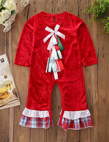 Μωρό Κοριτσίστικα Ενεργό / Βασικό Στάμπα Φιόγκος Μακρυμάνικο Ολόσωμη Φόρμα & Φόρμες Ρουμπίνι