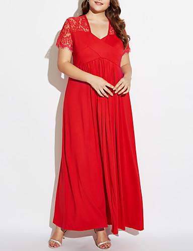 levne Maxi šaty-Dámské Větší velikosti Bavlna Swing Šaty - Jednobarevné Maxi Hluboké V Červená