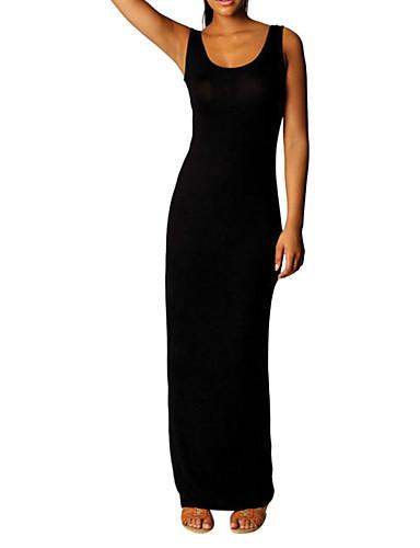 voordelige Maxi-jurken-Dames A-lijn Jurk - Effen Midi