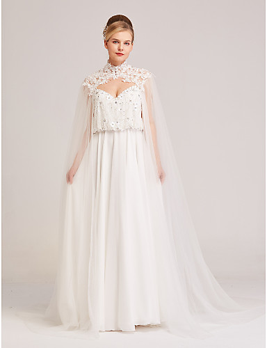 cheap Wedding Wraps-Sleeveless Capes Tulle Wedding / Party / Evening Women's Wrap With Floral / Button