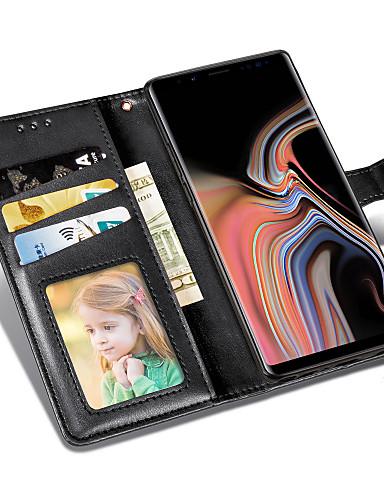 Capinha Para Samsung Galaxy Note 9 / Note 8 Carteira / Porta-Cartão / Com Suporte Capa Proteção Completa Sólido Rígida PU Leather