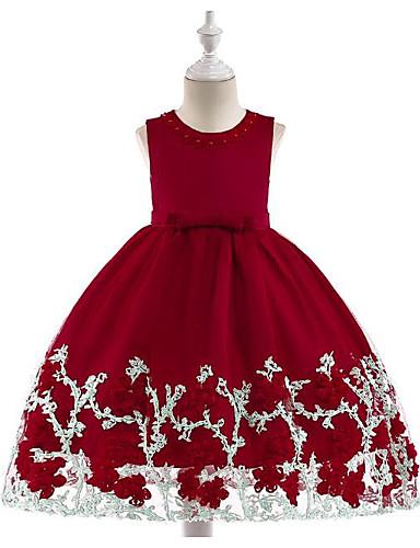 Πριγκίπισσα Κάτω από το γόνατο Φόρεμα για Κοριτσάκι Λουλουδιών - Πολυεστέρας / Τούλι Αμάνικο Με Κόσμημα με Χάντρες / Φιόγκος(οι) / Δαντέλα