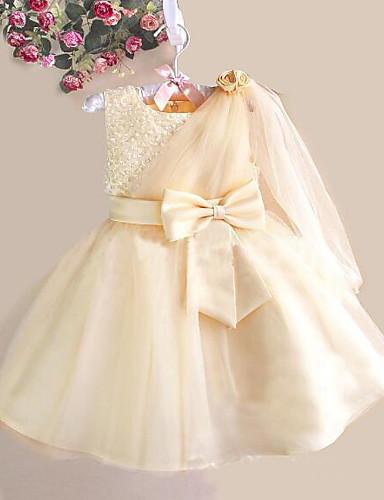 Prinsesse Knelang Blomsterpikekjole - Tyll / Polyester / bomullsblanding Ermeløs Besmykket med Sløyfe(r) / Krystalldetaljer / Belte